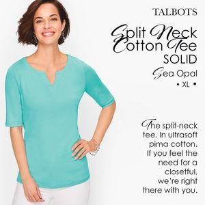 Talbots Split Neck Cotton Tee - SOLID Sea Opal